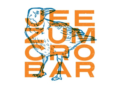 Jeezum Crowbar orange blue poster print art screenprint overprint crow bird nature