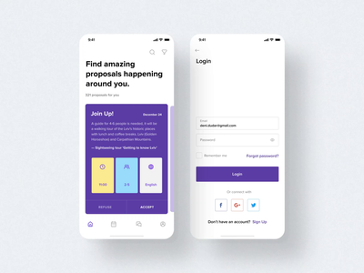 Travel App travel layout icon card lviv white space ios mobile purple login map app design minimal animation white ux ui mobile app design clean app
