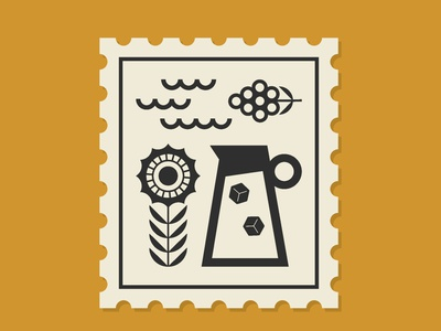 Summer Stamp icon design illustration vector branding grapes geometric illustration geometric abstract sunflower ice cube lemonade waves water grape