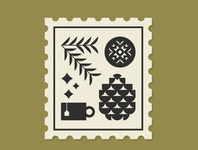 Winter Stamp stamp illustration vector ornaments star tea pine winter ornament pinecone