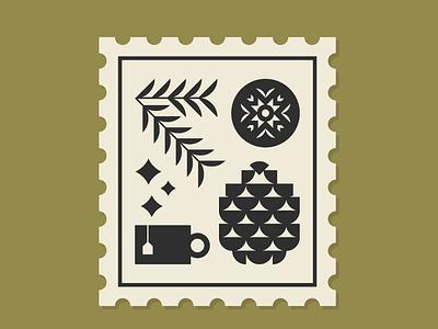 Winter Stamp stamp illustration vector ornaments star tea pine winter ornament pinecone