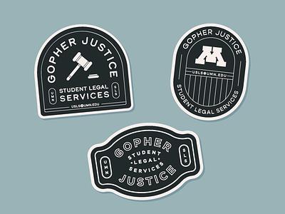 Student Legal Services Stickers type lockup design illustration branding lockup typography justice gavel minnesota legal services student university logo stickers sticker