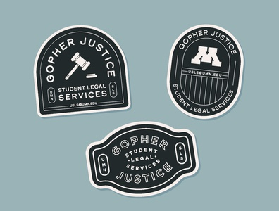 Student Legal Services Stickers type lockup design illustration branding lockup typography justice gavel minnesota legal services student university logo stickers sticker