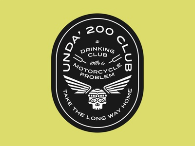 Unda' 200 Club Badge 200cc icon logo tuningforks tuning lockup typography design vector illustration motorcycle patch badge skull