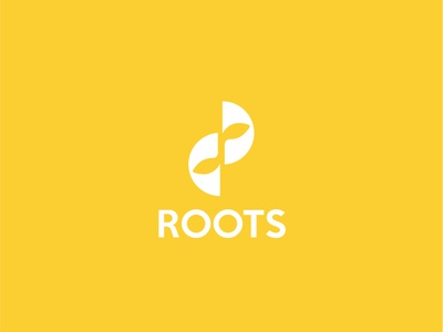 Roots white logo yellow logo white sans serif bright yellow root sprout abstract health mentalhealth growth vine logo branding vector