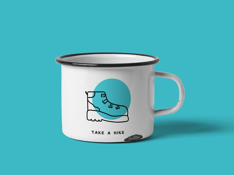 Metal Mug Blue illustration mug camping