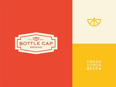 Bottle Cap Brewing lockup bottle cap brewery logo drop citrus brewery beer design icon illustration vector logo branding