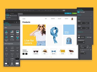 Justinmind designer UI -  properties and Widgets palettes interaction design ui-ux design interaction design justinmind ux design ux ui design ui