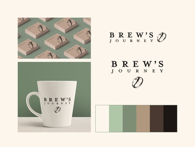 Brew's Journey Logo Branding logo design logotype brand design brand identity branding identity illustrator wordmark logo wordmark colors palette colorswatch colorscheme subscription box coffee cup coffee shop rustic branding logo coffee bean coffeeshop coffee logo