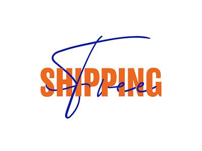 FREE SHIPPING  INTERLACED TYPOGRAPHY website adobe branding animation vector illustration product shipping design illustrator typography