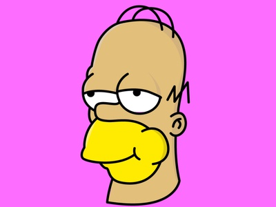 Homer Simpson Inverted Illustration