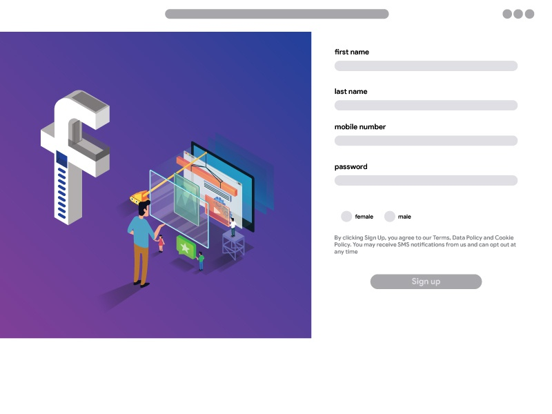 Facebook Redesigned Signup Page | Search by Muzli