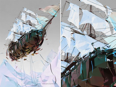 The Flying Dutch januszjurek procedural lines illustration generative draw 3d