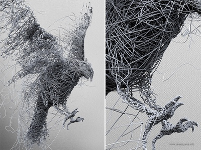 Birdy procedural lines januszjurek illustration generative draw 3d