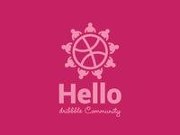 Hello Dribbble Community Logo