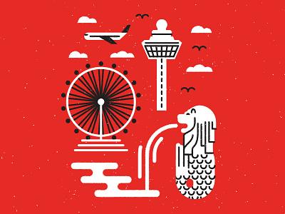 Singapore Icons stroke white red airplane airport changi merlion flyer icons singapore