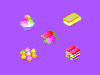Singaporean food icons 🇸🇬 garmin kacang ice iced gem biscuit kueh lapis sandwich icecream ang ku kueh gradients vector illustration icons singapore