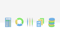 Blue Green Yellow Flat Icons