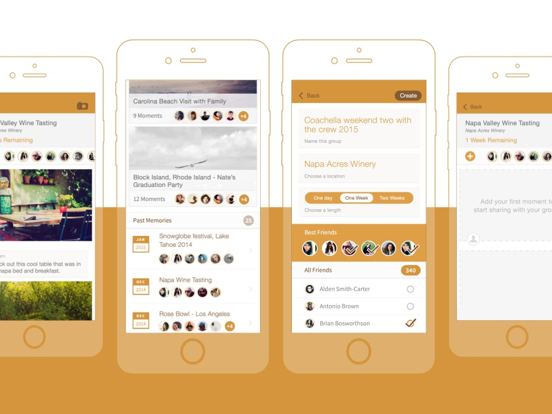 Social Photo Sharing App photos groups events friends list social app buddies mobile ios orange sharing