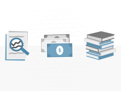 Splash Page Icons iconography book cash bills dollar money books stack documents search textbook
