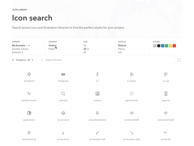 Icon library search and filters