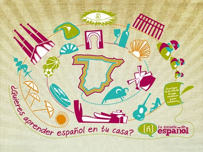 Aprender español vector spain information illustration graphics design