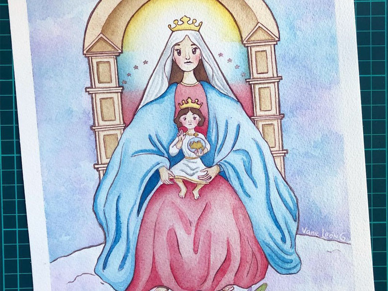 Virgencoromoto Studiovane baby jesus mary mother of jesus painting venezuela coromoto virgen drawing illustration art watercolor