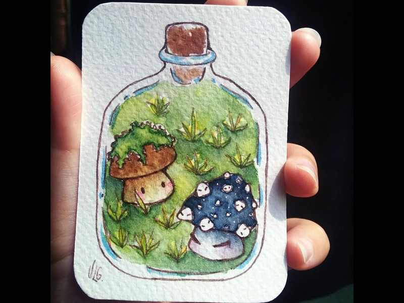 Magical Jar - Green mushroom magical bottle magical jar original character illustration painting watercolor