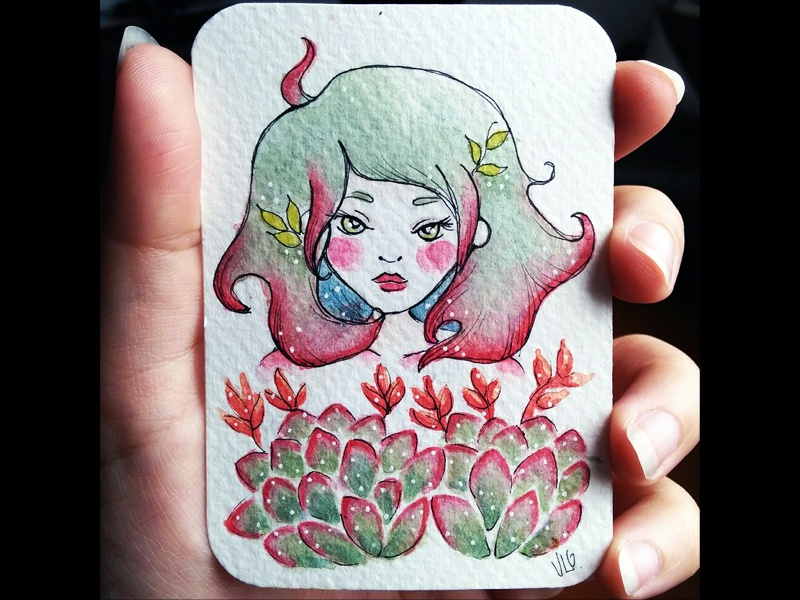 Succulent spirit card aceo original character illustration watercolor painting