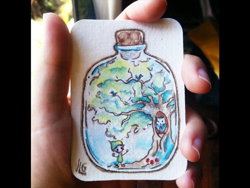 Magical Jar - Blue magical jar magical bottle aceo original character illustration watercolor painting