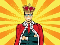 Businessman as a king in pop art style