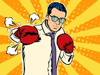 Pop art businessman boxer