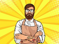 Bearded hipster with tattoo and glasses