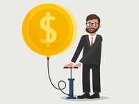 Bearded hipster businessman character with baloon coin