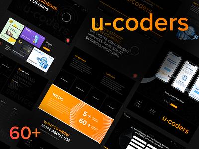 U-CODERS digital agency orange black design website prototype ui ux