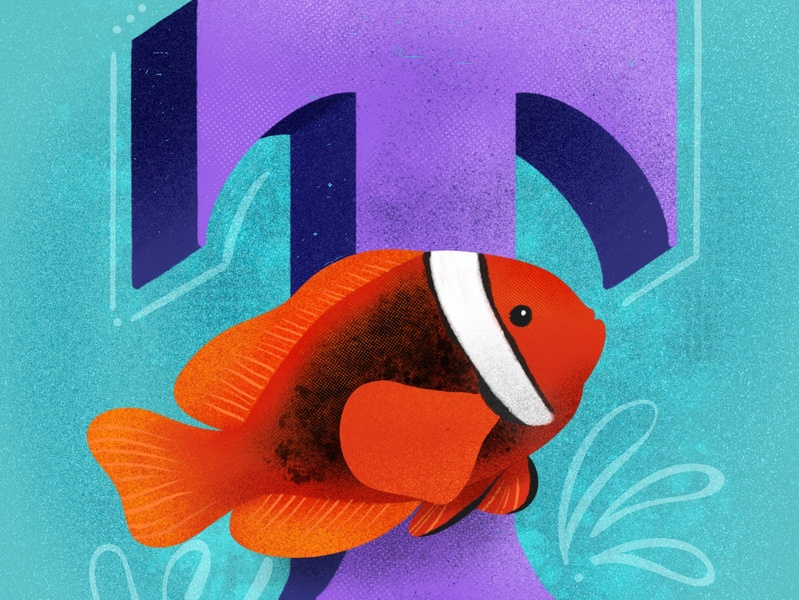 Tomato Clownfish 36 days of type lettering 36 days of type sea creatures animals illustrated animals 36days-adobe 36 days 36dayoftype typography lettering illustration hand lettering design