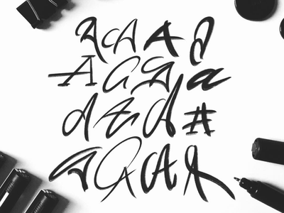 Letter A font hand lettering calligraphy typography logotype sketches type typo design script lettering