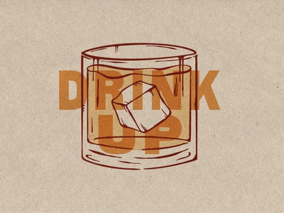 DRINK UP liquor bar branding whiskey cocktail old fashioned type typography design graphic design illustration