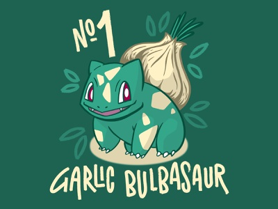 Garlic Bulbasaur lettering pokemon procreate