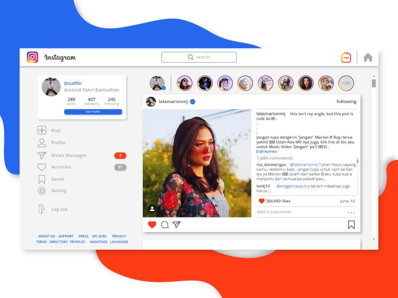 Instagram Web UI Re-design by Zull on Dribbble