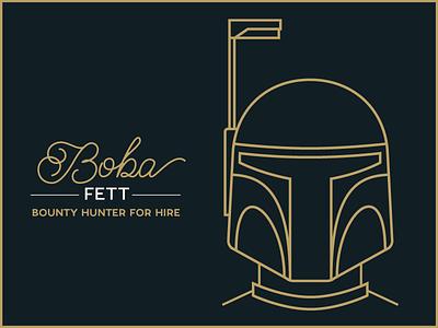 Boba Branding logo vintage retro typography drawing line art boba fett star wars