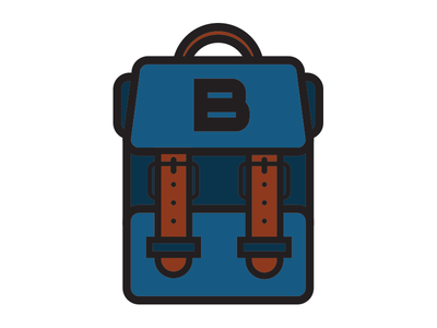 Backpack Logo line art flat icon book bag backpack