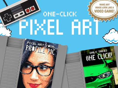 Pixel Art - One Click Actions one click illustration profile picture nintendo art pixel pixel art 80s 90s retro actions photoshop