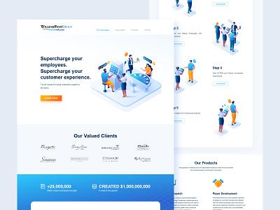 Website Design customer waiter casino website clean blue service