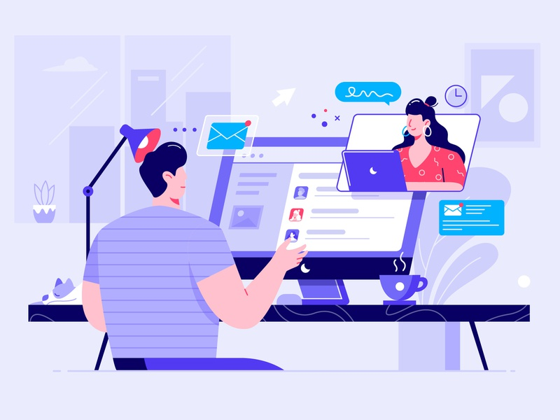 Remote Work workplace video teamwork management employee office communication interface remote work flat illustration conference characters work from home collaboration