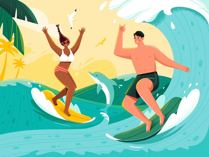 Good Times_Summer Surf lovers illustration summertime couple happy dolphin travel surfboard sunset palm ocean boy girl adventures character