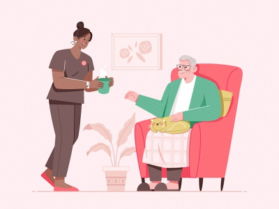 Care In My Home_01 illustration cup plant character design woman cat sofa home carer assistance elderly