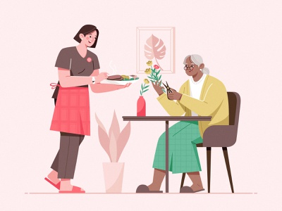 Care In My Home_03 food beef look after service plant home carer design woman illustration character elderly
