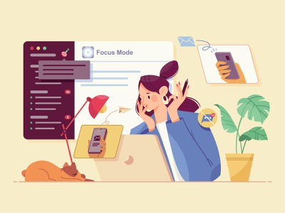 Focus Mode with Geekbot dog workplace work do not disturb table lamp web hand plant office computer girl woman character illustration
