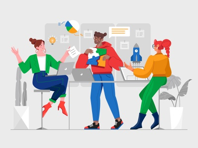 Scrum For Marketing rocket costume work meeting communicate discuss plant web happy boy office computer man girl woman illustration character